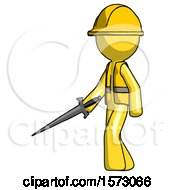 Yellow Construction Worker Contractor Man With Sword Walking Confidently