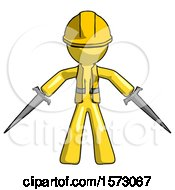 Yellow Construction Worker Contractor Man Two Sword Defense Pose