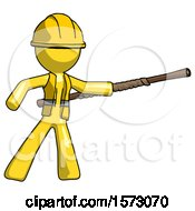 Yellow Construction Worker Contractor Man Bo Staff Pointing Right Kung Fu Pose