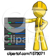 Yellow Construction Worker Contractor Man With Server Rack Leaning Confidently Against It