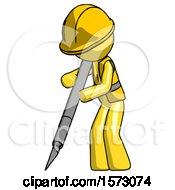 Yellow Construction Worker Contractor Man Cutting With Large Scalpel