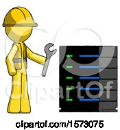 Yellow Construction Worker Contractor Man Server Administrator Doing Repairs