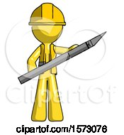 Yellow Construction Worker Contractor Man Holding Large Scalpel