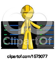 Yellow Construction Worker Contractor Man With Server Racks In Front Of Two Networked Systems