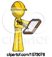 Yellow Construction Worker Contractor Man Using Clipboard And Pencil