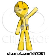 Yellow Construction Worker Contractor Man Waving Emphatically With Left Arm