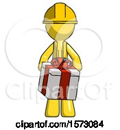 Yellow Construction Worker Contractor Man Gifting Present With Large Bow Front View