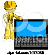 Yellow Construction Worker Contractor Man Beside Large Laptop Computer Leaning Against It