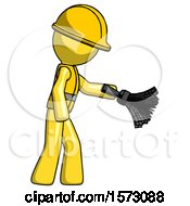 Yellow Construction Worker Contractor Man Dusting With Feather Duster Downwards