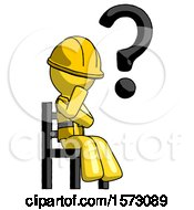 Yellow Construction Worker Contractor Man Question Mark Concept Sitting On Chair Thinking