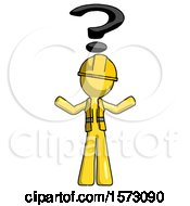 Yellow Construction Worker Contractor Man With Question Mark Above Head Confused