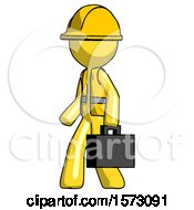 Yellow Construction Worker Contractor Man Walking With Briefcase To The Left