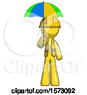 Yellow Construction Worker Contractor Man Holding Umbrella Rainbow Colored