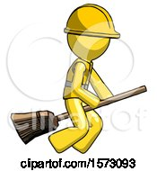 Yellow Construction Worker Contractor Man Flying On Broom