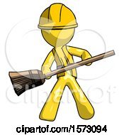 Yellow Construction Worker Contractor Man Broom Fighter Defense Pose