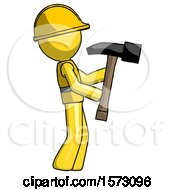 Yellow Construction Worker Contractor Man Hammering Something On The Right