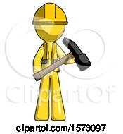 Yellow Construction Worker Contractor Man Holding Hammer Ready To Work