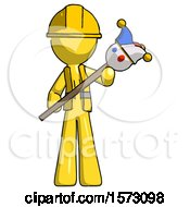 Yellow Construction Worker Contractor Man Holding Jester Diagonally