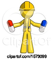 Yellow Construction Worker Contractor Man Holding A Red Pill And Blue Pill