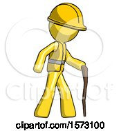 Yellow Construction Worker Contractor Man Walking With Hiking Stick