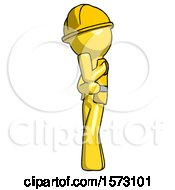 Yellow Construction Worker Contractor Man Thinking Wondering Or Pondering