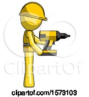 Yellow Construction Worker Contractor Man Using Drill Drilling Something On Right Side
