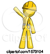 Yellow Construction Worker Contractor Man Waving Emphatically With Right Arm