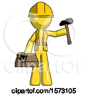 Yellow Construction Worker Contractor Man Holding Tools And Toolchest Ready To Work