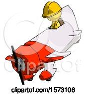 Yellow Construction Worker Contractor Man In Geebee Stunt Plane Descending View