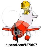 Yellow Construction Worker Contractor Man In Geebee Stunt Plane Descending Front Angle View