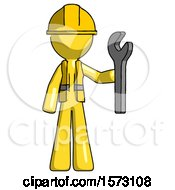 Yellow Construction Worker Contractor Man Holding Wrench Ready To Repair Or Work