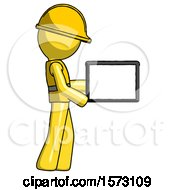 Yellow Construction Worker Contractor Man Show Tablet Device Computer To Viewer Blank Area