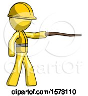 Yellow Construction Worker Contractor Man Pointing With Hiking Stick