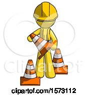Yellow Construction Worker Contractor Man Holding A Traffic Cone