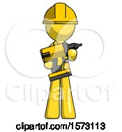 Yellow Construction Worker Contractor Man Holding Large Drill
