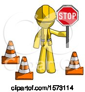 Yellow Construction Worker Contractor Man Holding Stop Sign By Traffic Cones Under Construction Concept