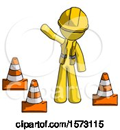 Yellow Construction Worker Contractor Man Standing By Traffic Cones Waving