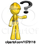 Yellow Construction Worker Contractor Man Holding Question Mark To Right
