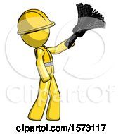 Yellow Construction Worker Contractor Man Dusting With Feather Duster Upwards