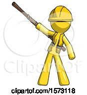 Yellow Construction Worker Contractor Man Bo Staff Pointing Up Pose