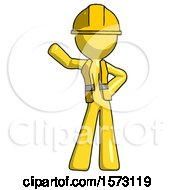 Yellow Construction Worker Contractor Man Waving Right Arm With Hand On Hip