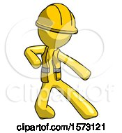 Yellow Construction Worker Contractor Man Karate Defense Pose Right