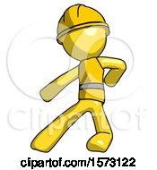 Yellow Construction Worker Contractor Man Karate Defense Pose Left