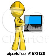 Yellow Construction Worker Contractor Man Holding Laptop Computer Presenting Something On Screen