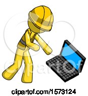 Yellow Construction Worker Contractor Man Throwing Laptop Computer In Frustration