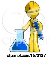 Yellow Construction Worker Contractor Man Holding Test Tube Beside Beaker Or Flask