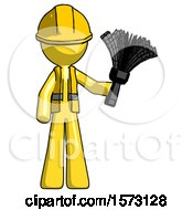 Yellow Construction Worker Contractor Man Holding Feather Duster Facing Forward