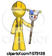 Yellow Construction Worker Contractor Man Holding Jester Staff