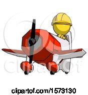 Yellow Construction Worker Contractor Man Flying In Geebee Stunt Plane Viewed From Below