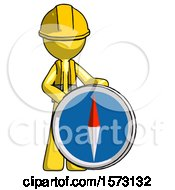 Yellow Construction Worker Contractor Man Standing Beside Large Compass